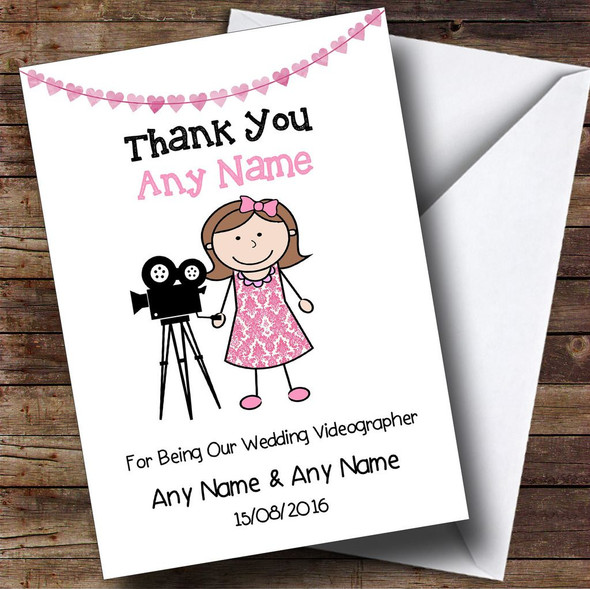 Thank You For Being Our Wedding Videographer Female Personalised Thank You Card