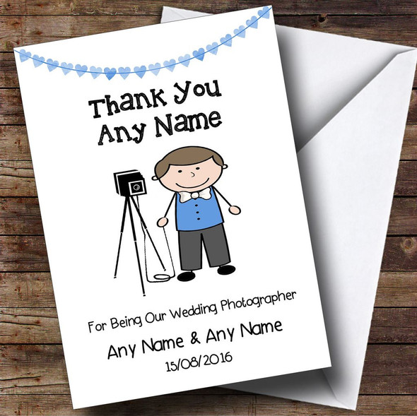 Thank You For Being Our Wedding Photographer Male Personalised Thank You Card