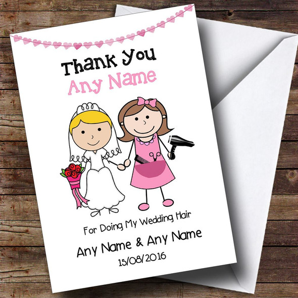 Thank You For Being Our Wedding Hairdresser Personalised Thank You Card