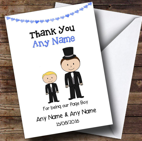 Thank You For Being Our Page Boy Personalised Thank You Card