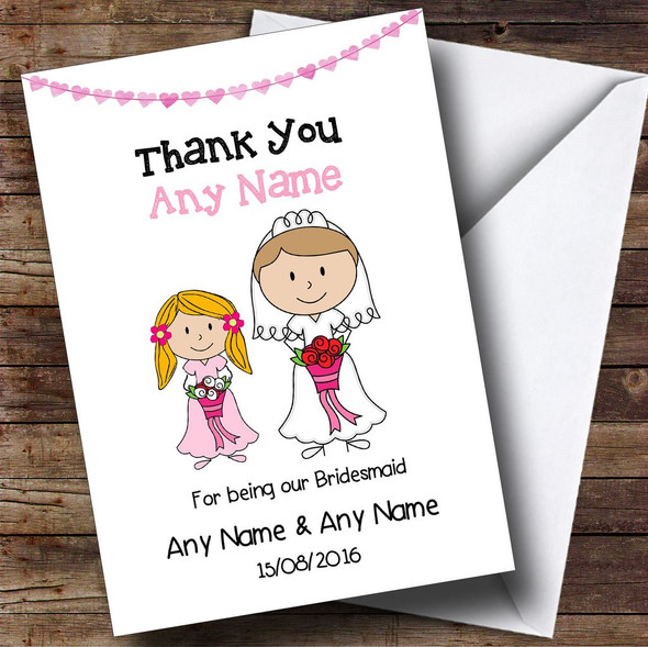 Thank You For Being Our Bridesmaid Personalised Thank You Card