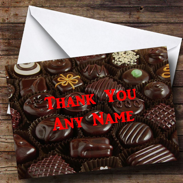Chocolate Selection Personalised Thank You Card