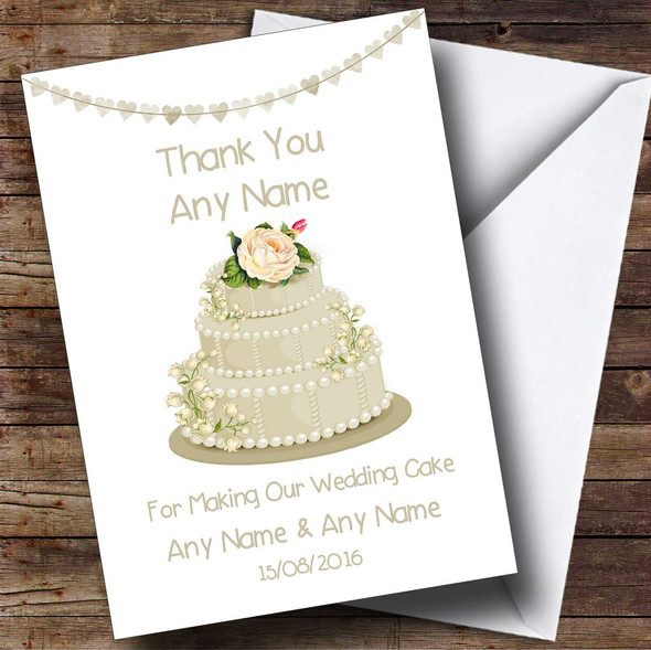 Ivory Thank You For Making Our Wedding Cake Personalised Thank You Card