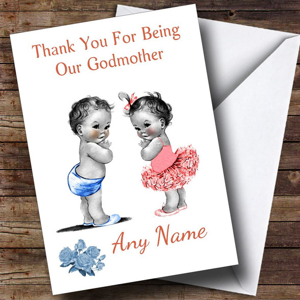 Cute Twin Boy & Girl Godmother Personalised Thank You Card