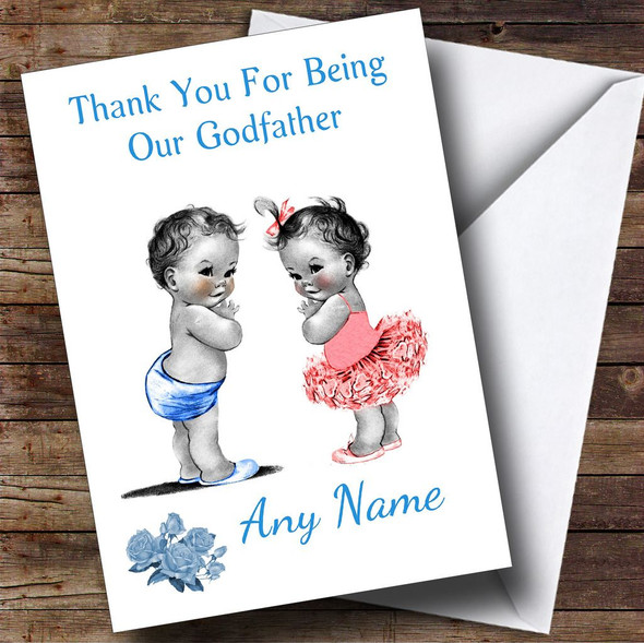 Cute Twin Boy & Girl Godfather Personalised Thank You Card