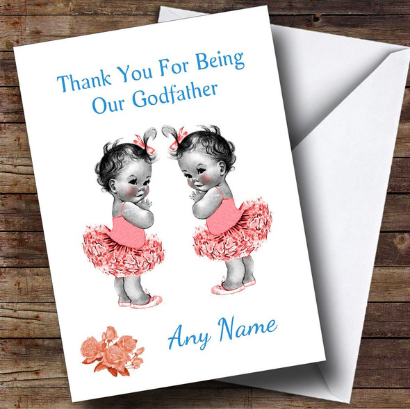 Cute Twin Baby Girls Godfather Personalised Thank You Card