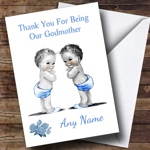 Cute Baby Twin Boys Godmother Personalised Thank You Card