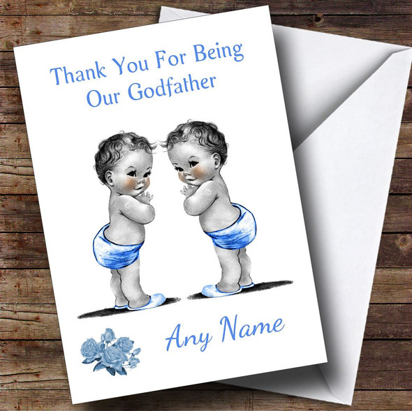Cute Baby Twin Boys Godfather Personalised Thank You Card