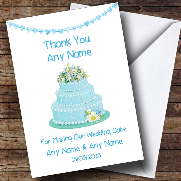 Blue Thank You For Making Our Wedding Cake Personalised Thank You Card