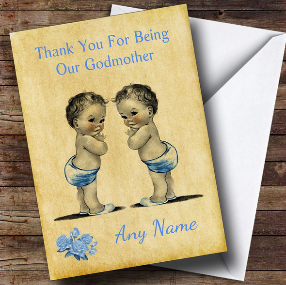 Baby Twin Boys Godmother Personalised Thank You Card