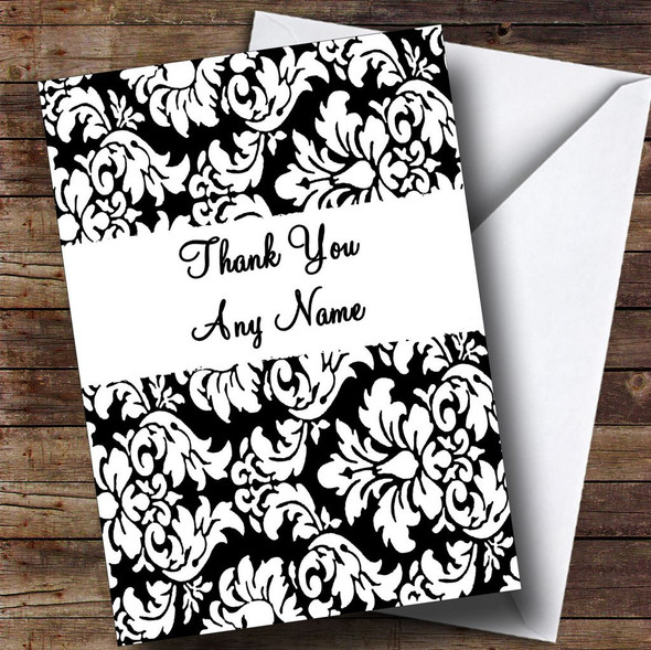 Floral Black White Damask Personalised Thank You Card