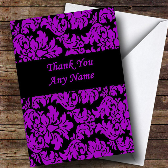Floral Black Purple Damask Personalised Thank You Card