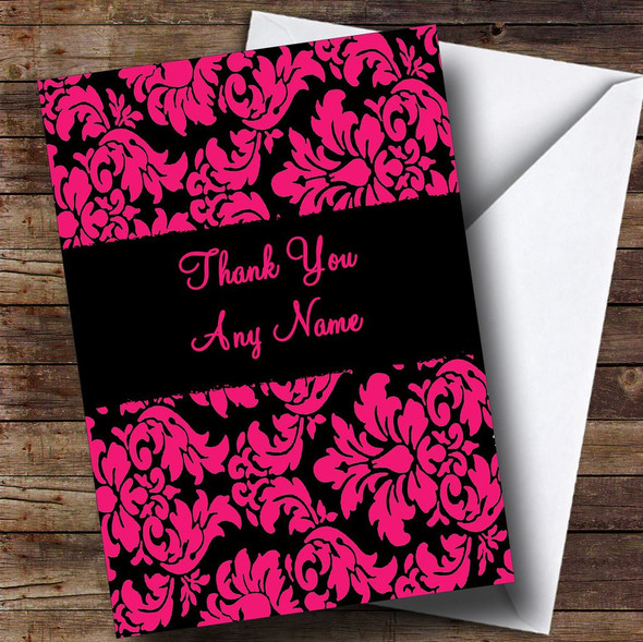 Floral Black Pink Damask Personalised Thank You Card