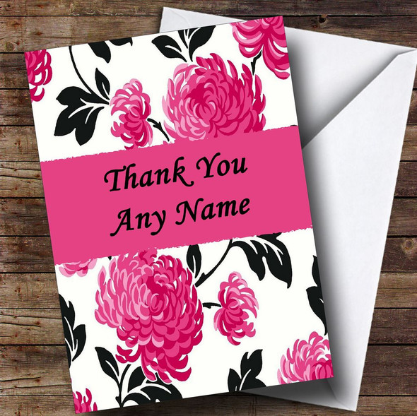Beautiful Black White & Pink Vintage Floral Personalised Thank You Card