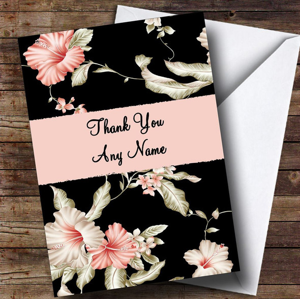 Stunning Black Vintage Floral Personalised Thank You Card