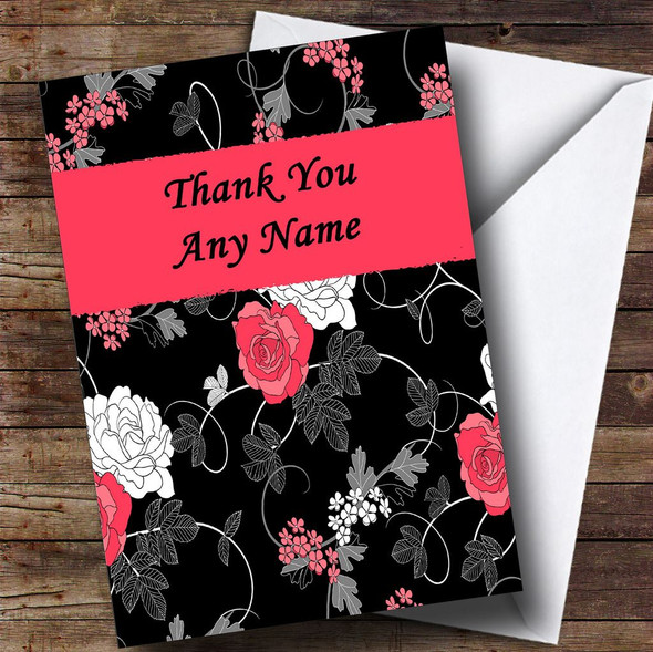 Pretty Black Vintage Floral Personalised Thank You Card