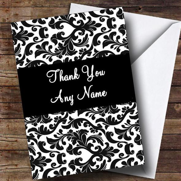 Black & White Damask Personalised Thank You Card