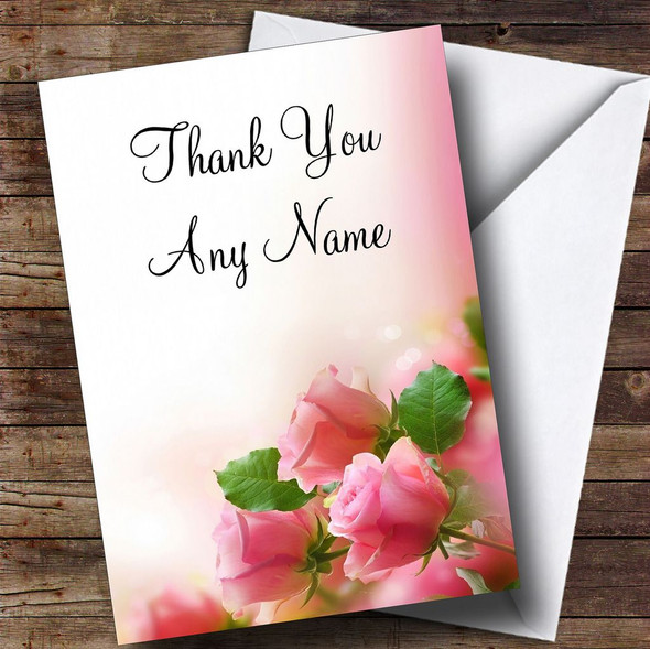 Beautiful Soft Pink Pastel Roses Personalised Thank You Card
