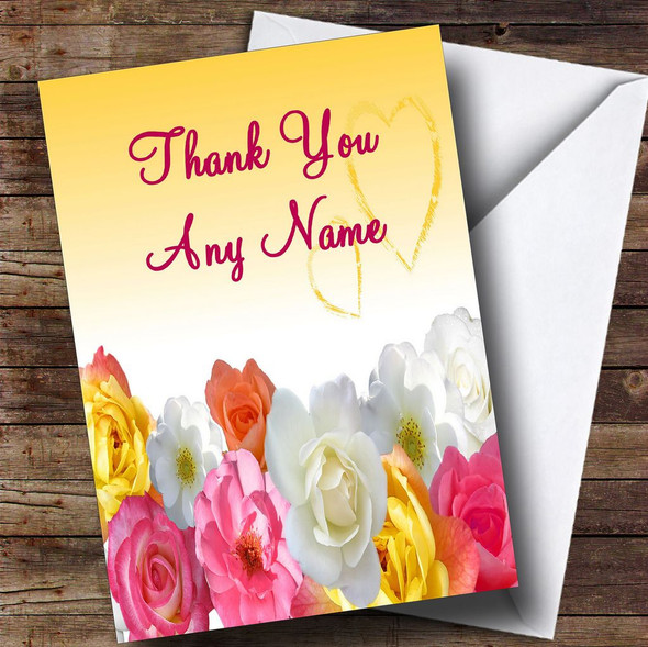 Yellow Flowers Personalised Thank You Card