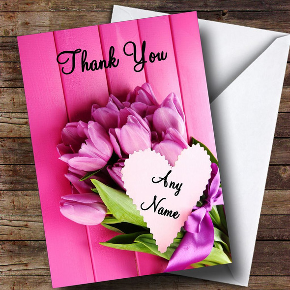 Pink Bunch Of Flowers Personalised Thank You Card