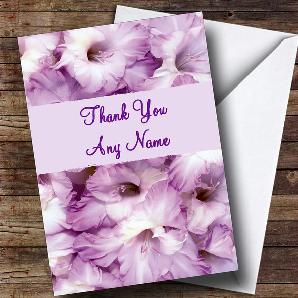 Stunning Purple Petals Personalised Thank You Card