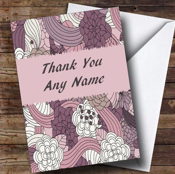 Purple & Pink Vintage Personalised Thank You Card