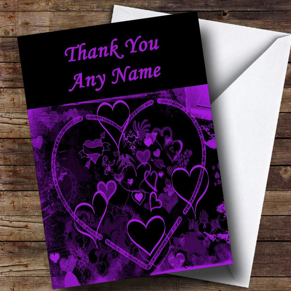 Purple And Black Love Heart Personalised Thank You Card