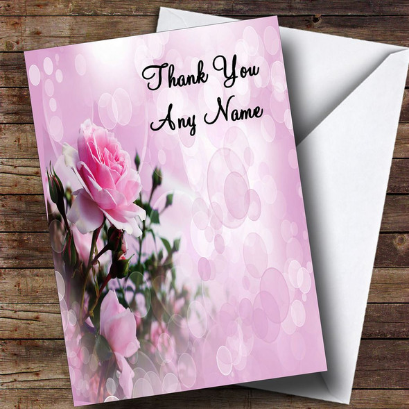 Pale Pretty Pink Rose Personalised Thank You Card