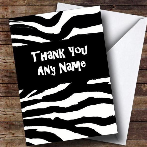 Zebra Print Personalised Thank You Card
