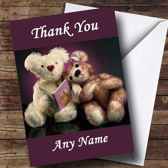Purple Teddy Bears Personalised Thank You Card