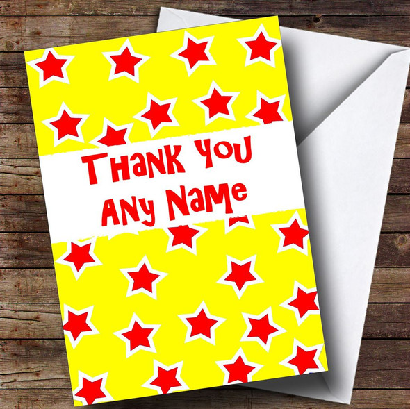 Red And Yellow Stars Personalised Thank You Card