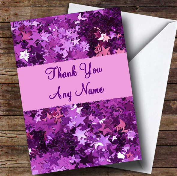 Purple Stars Personalised Thank You Card
