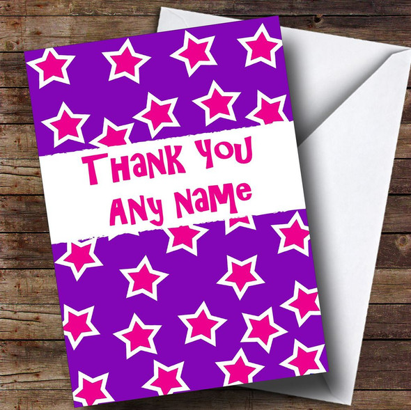 Purple And Pink Stars Personalised Thank You Card