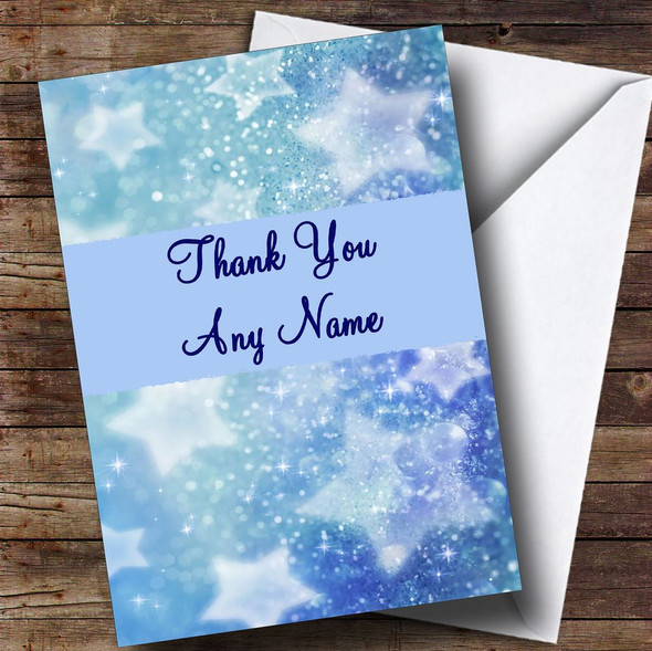 Blue Crystal Stars Personalised Thank You Card