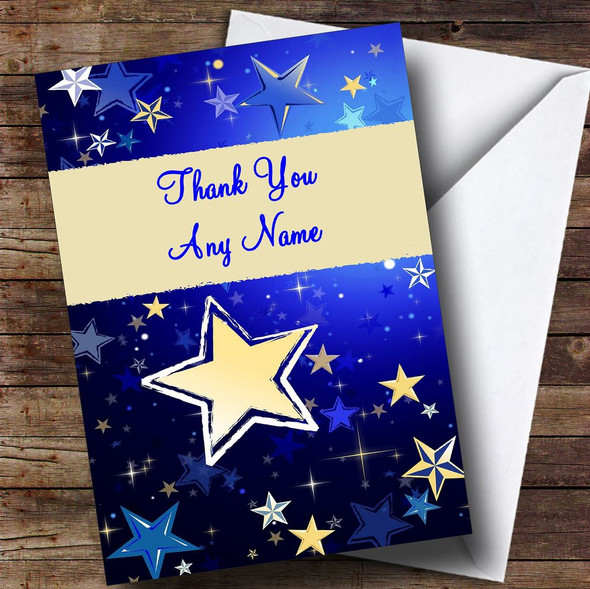 Blue And Cream Stars Personalised Thank You Card