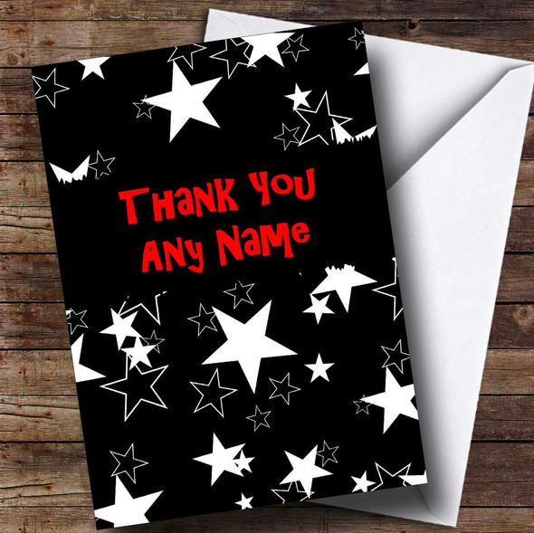 Black And White Stars Personalised Thank You Card