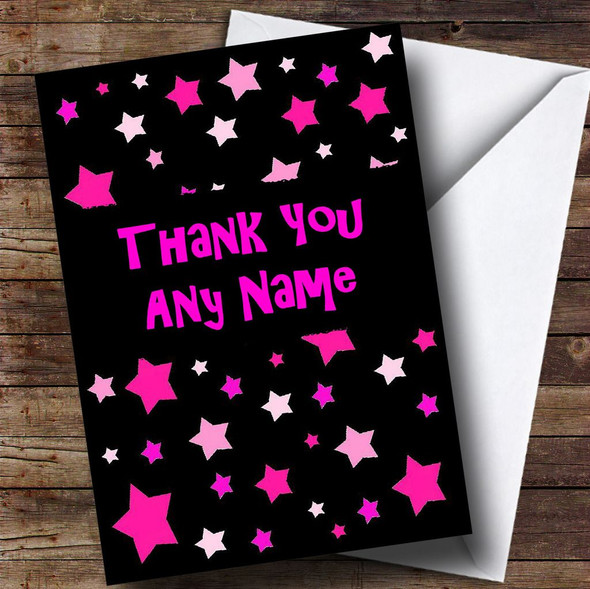 Black And Pink Stars Personalised Thank You Card
