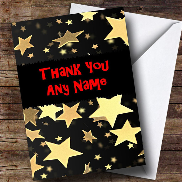 Gold Stars Personalised Thank You Card