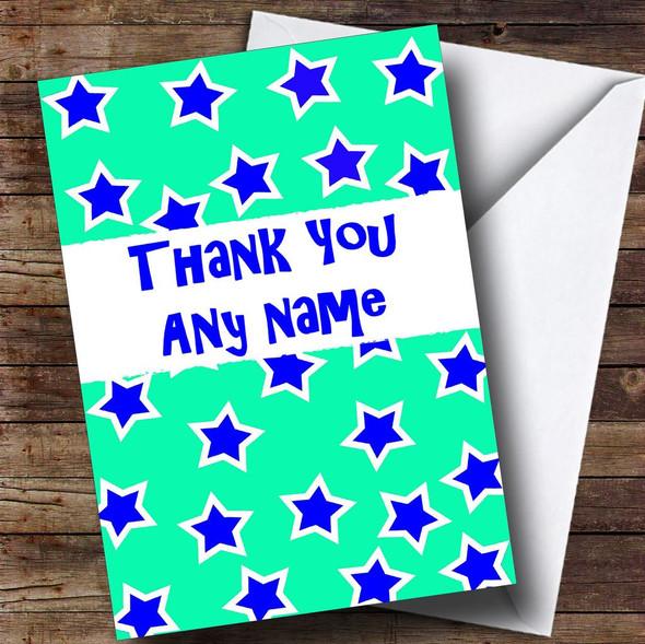 Aqua Stars Personalised Thank You Card
