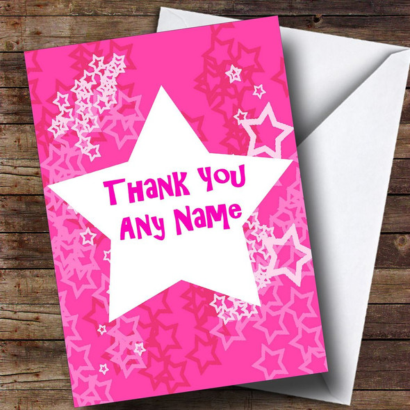 Pink Star Personalised Thank You Card