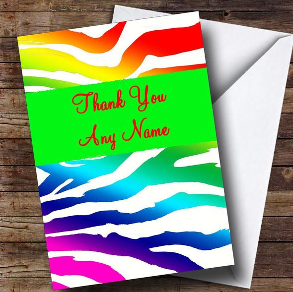 Rainbow Zebra Animal Print Personalised Thank You Card