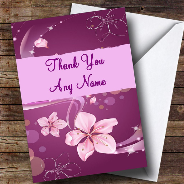Purple Flowers Personalised Thank You Card