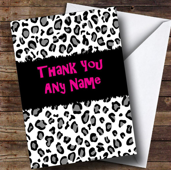 Black And White Leopard Print Personalised Thank You Card