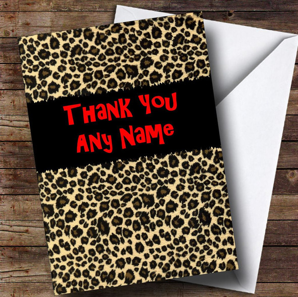 Leopard Print Personalised Thank You Card