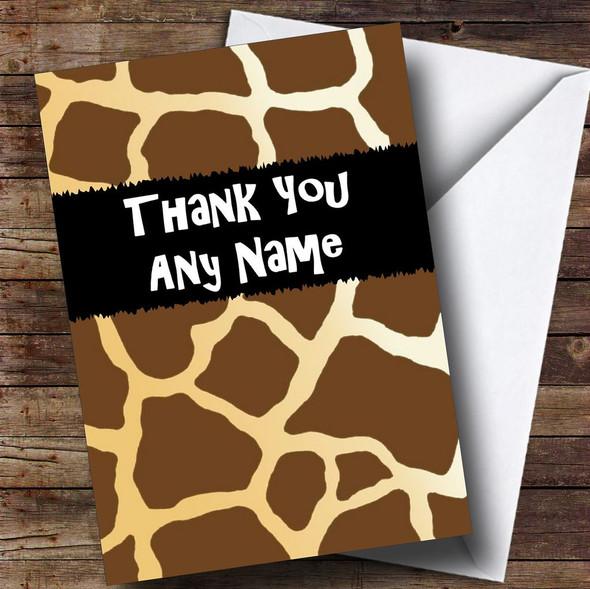 Giraffe Animal Print Personalised Thank You Card