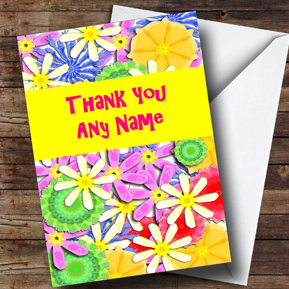 Bright Flowers Personalised Thank You Card