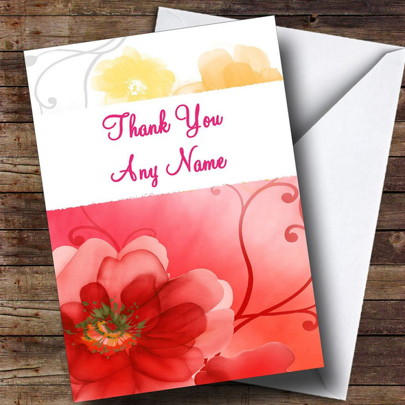Flowery Pattern Personalised Thank You Card