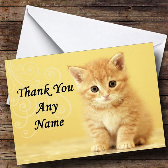 Ginger Kitten Personalised Thank You Card