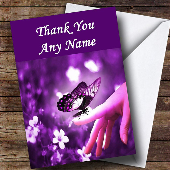 Purple Butterfly Personalised Thank You Card