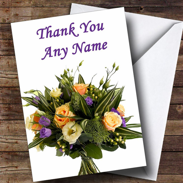 Bunch Of Flowers Personalised Thank You Card